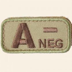 Patches Mil-Spec Monkey Blood Types A- Négatif Multicam 5cm x 2,5cm