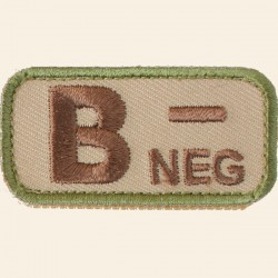 Patch Mil-Spec Monkey Blood Types B- Négatif Multicam 5cm x 2,5cm