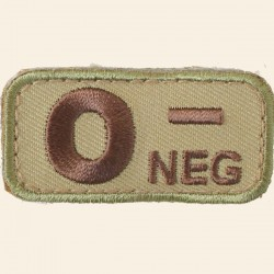 Patch Mil-Spec Monkey Blood Types O- Négatif Multicam 5cm x 2,5cm