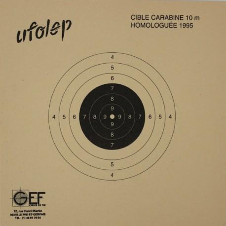 Cible Carabine 10 mètres UFOLEP format 10x10 carton (x50 unités)