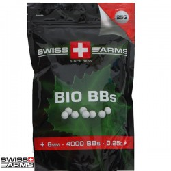 Billes biodégradables 0,25grs Swiss Arms Blanches en Sachet de 4000