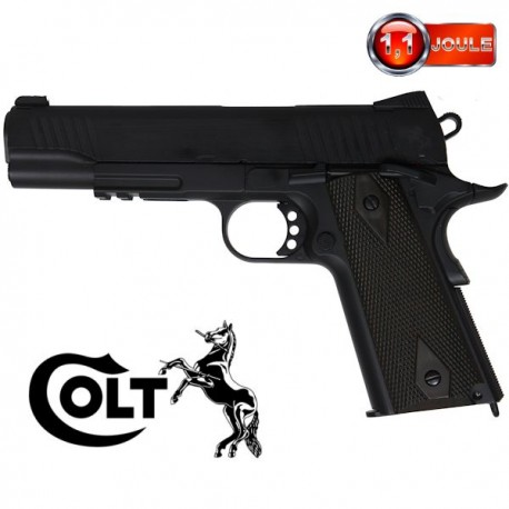 Colt 1911 A1 Rail Gun Series, Noir Mat, Blowback (Culasse Mobile), Full Métal