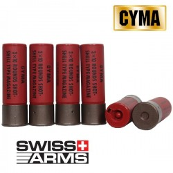 Blister de 6 Cartouches Multi Shot (3 billes par tir) Swiss Arms Universelles pour Fusils à Pompes