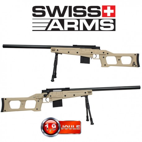 Fusil Sniper SAS 08 Tan Swiss Arms avec bipied