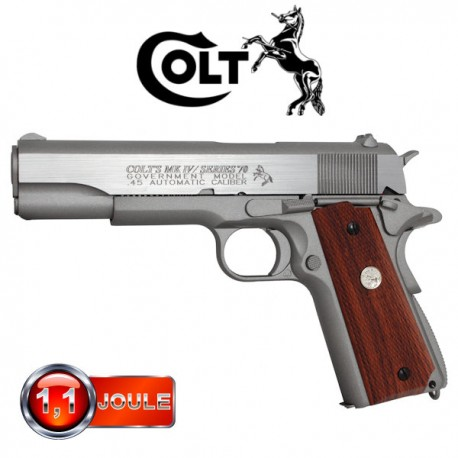 Colt 1911 MKIV  Series 70, Silver, Blowback (Culasse Mobile), Full Métal
