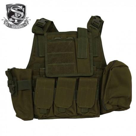 Veste Tactical Type Ciras Combat Court Noire Multi-Poches S&T