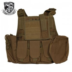 Veste Tactical Type Ciras Combat Court Tan Multi-Poches S&T