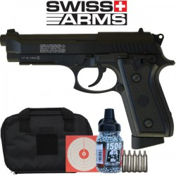 Pack Complet P92 co2 Swiss Arms Full Métal,  Blow Back, 4,5mm