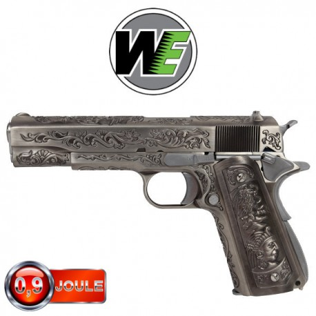 WE 1911 Silver Classic Floral Pattern Full Métal, Blowback
