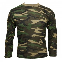 Tee Shirt ML CAMO Woodland