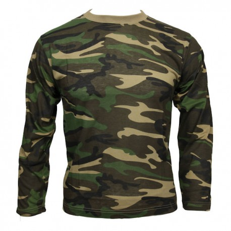 Tee Shirt ML CAMO Woodland