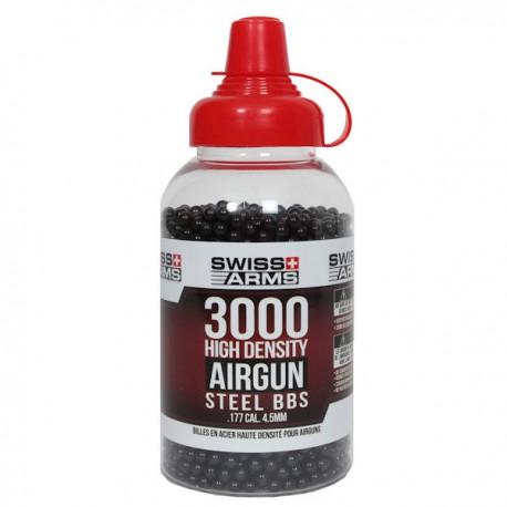 Biberon de 3000 Billes Swiss Arms 4,5mm, 0,35grs Noires en Acier