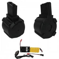 Chargeur Drum Noir Electrique Saigo 1000 Billes pour M4, M15, M16 Séries