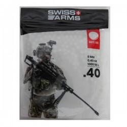 Sachet de 1000 Billes de Précision 0,40grs Blanches Swiss Arms