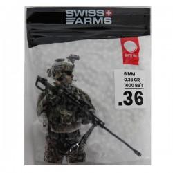Sachet de 1000 Billes de Précision 0,36grs Blanches Swiss Arms
