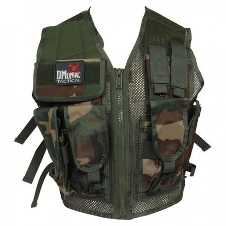 Veste tactical Woodland DMoniac 6 Poches + Holster