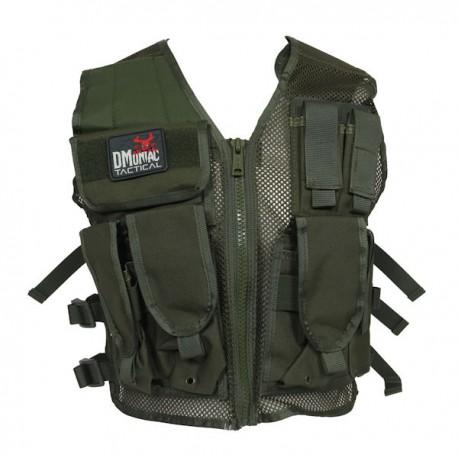 Veste tactical Vert DMoniac 6 Poches + Holster