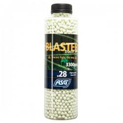 Bouteille de 3300 Billes 0,28grs Blaster ASG Traçantes Vertes Phosphorescentes