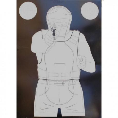 Cible format Fond Blanc 50x70 carton, pour tir rapide vendue à l'unité