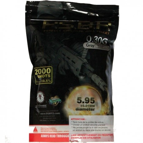 Sachet de 2000 Billes G&G Perfect 0,30grs Grises