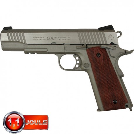 Colt 1911 A1 Rail Gun Series Blowback (Culasse Mobile), Full Métal