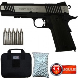 Pack Colt 1911 A1 Rail Gun Series, Bicolore, Blowback (Culasse Mobile), Full Métal