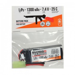 Batterie LiPo Stick 7,4v 1300 maH 25C Mini Tamyia Swiss Arms