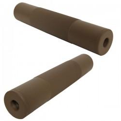 Silencieux Airsoft Métal 14mm Horaire/Anti-Horaire Tan 195mm