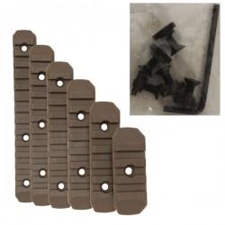 Set de 6 Rails M-Lock Tan avec Visserie