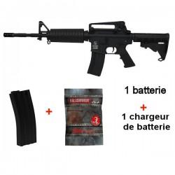 Colt M4 Carbine Full Métal Noir + 1 Chargeur Supplémentaire + 4000 Billes 0,25grs
