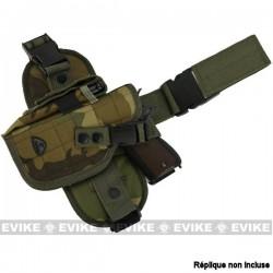 Holster de Cuisse Woodland Tactique à Tirage rapide avec Panneau de Jambe tombante Special Force Matrix