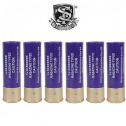 6 Cartouches S&T pour Fusils à Pompe 15 Billes Purple