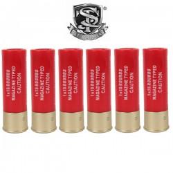 6 Cartouches S&T pour Fusils à Pompe 15 Billes Rouge