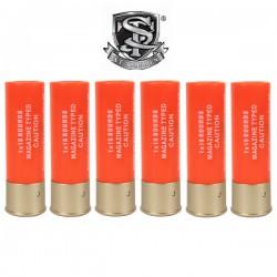 6 Cartouches S&T pour Fusils à Pompe 15 Billes Orange