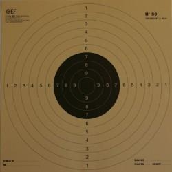 Cible Pistolet 25/50 mètres réduction à 25 mètres format 26x26 carton (x10 unités)