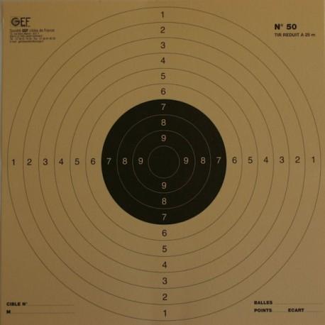 Pistolet 25/50 mètres réduction à 25 mètres format 26x26 carton (x100)